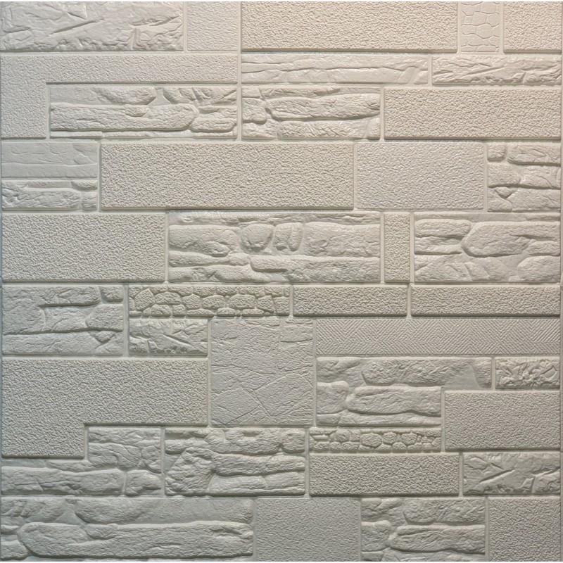 دیوارپوش فومی طرح سنگ آنتیک سفید مدل 55