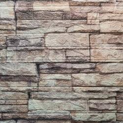 دیوارپوش فومی طرح سنگ رودخانه ای طوسی مدل 44
