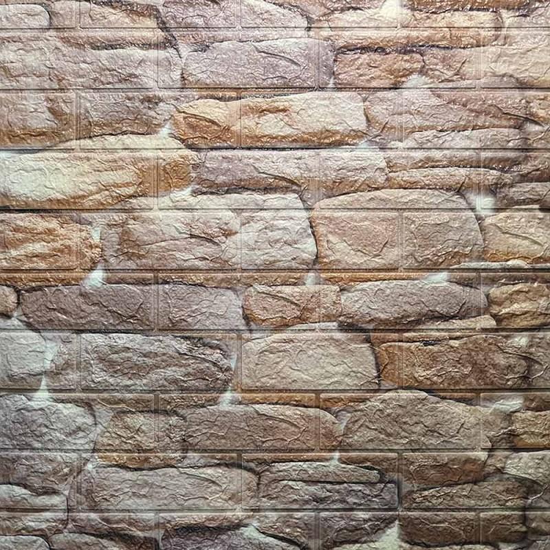 دیوارپوش فومی طرح سنگ رودخانه ای قهوه ای مدل 45
