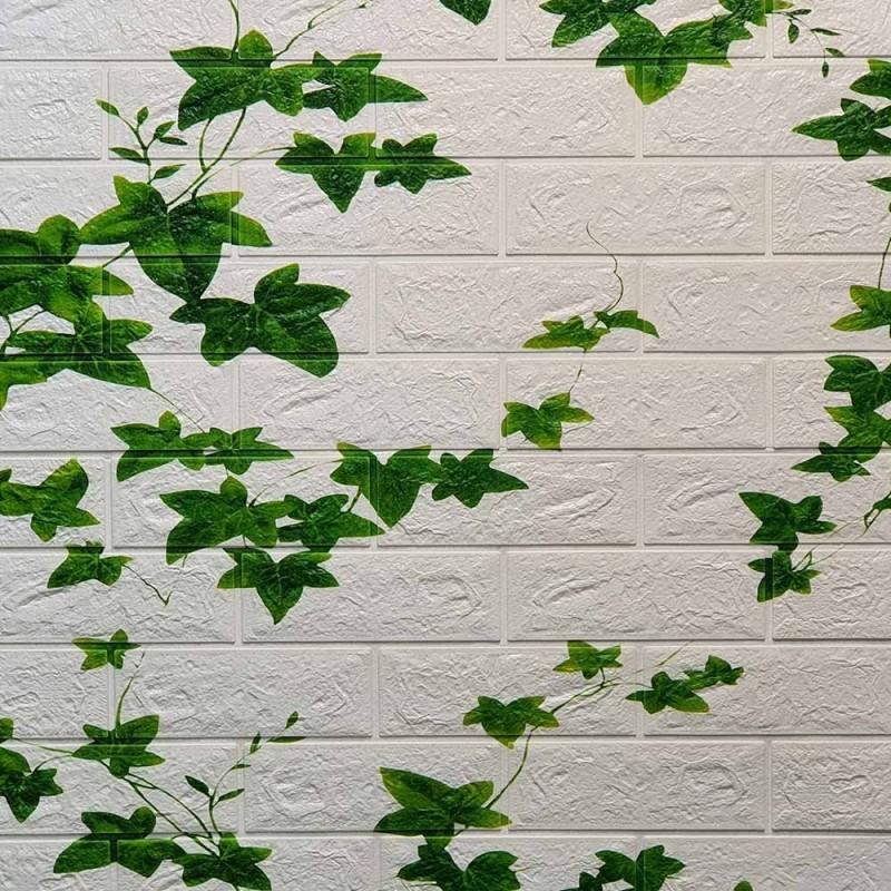 دیوارپوش فومی طرح آجر برگ سبز مدل 63